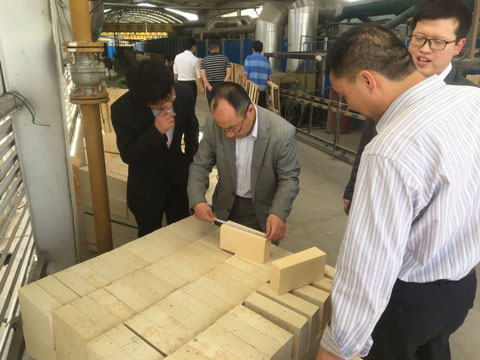 Japanese Customers Inspecting Refractory Bricks